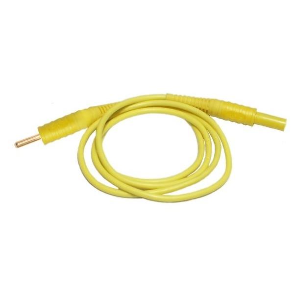 Przewód 1,2 m żółty zakończony wtykami bananowymi