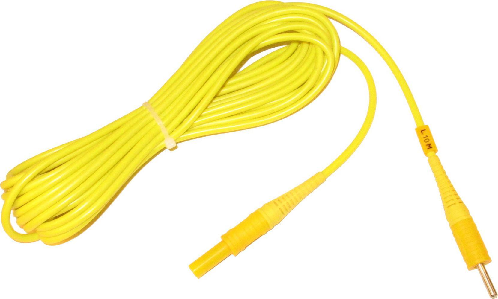 Przewód 10 m żółty zakończony wtykami bananowymi