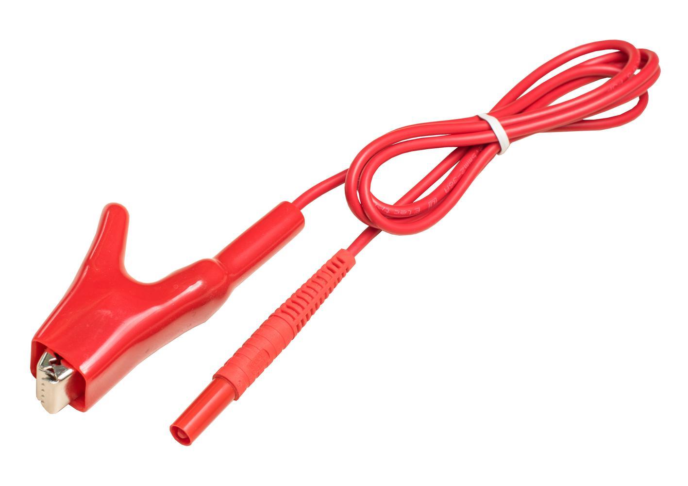 Przewód 1,2m czerwony 1 kV (zakończony krokodylem)
