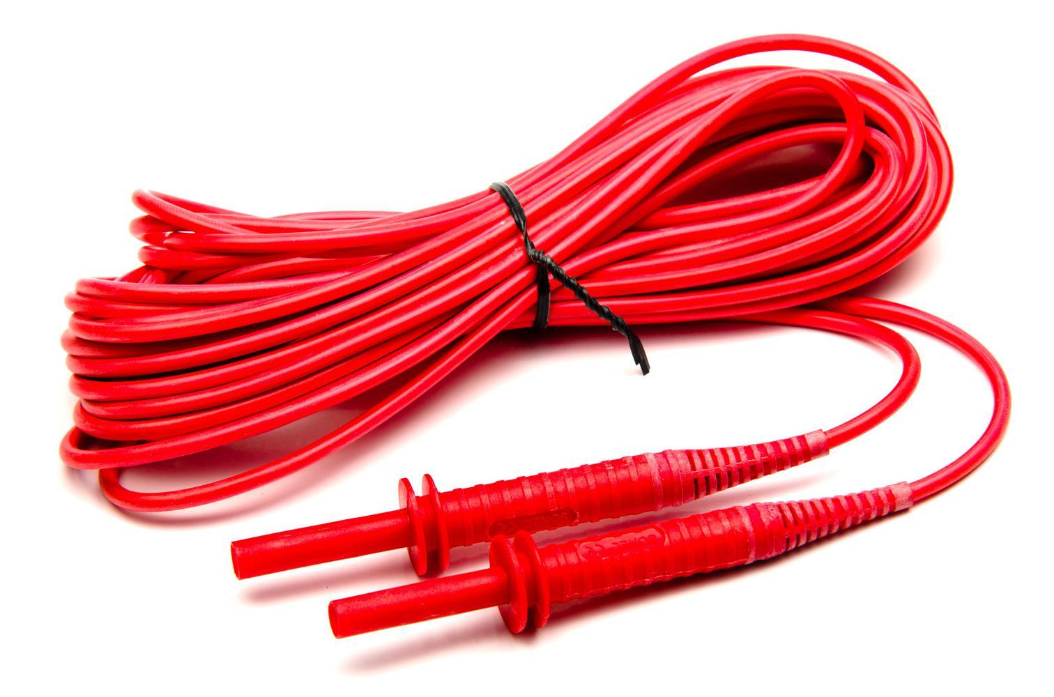 Przewód 10 m czerwony 5 kV (wtyki bananowe)