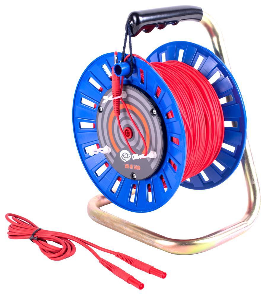 Przewód 100 m czerwony do pomiaru uziemień na szpuli