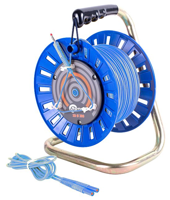 Przewód 100 m niebieski do pomiaru uziemień na szpuli