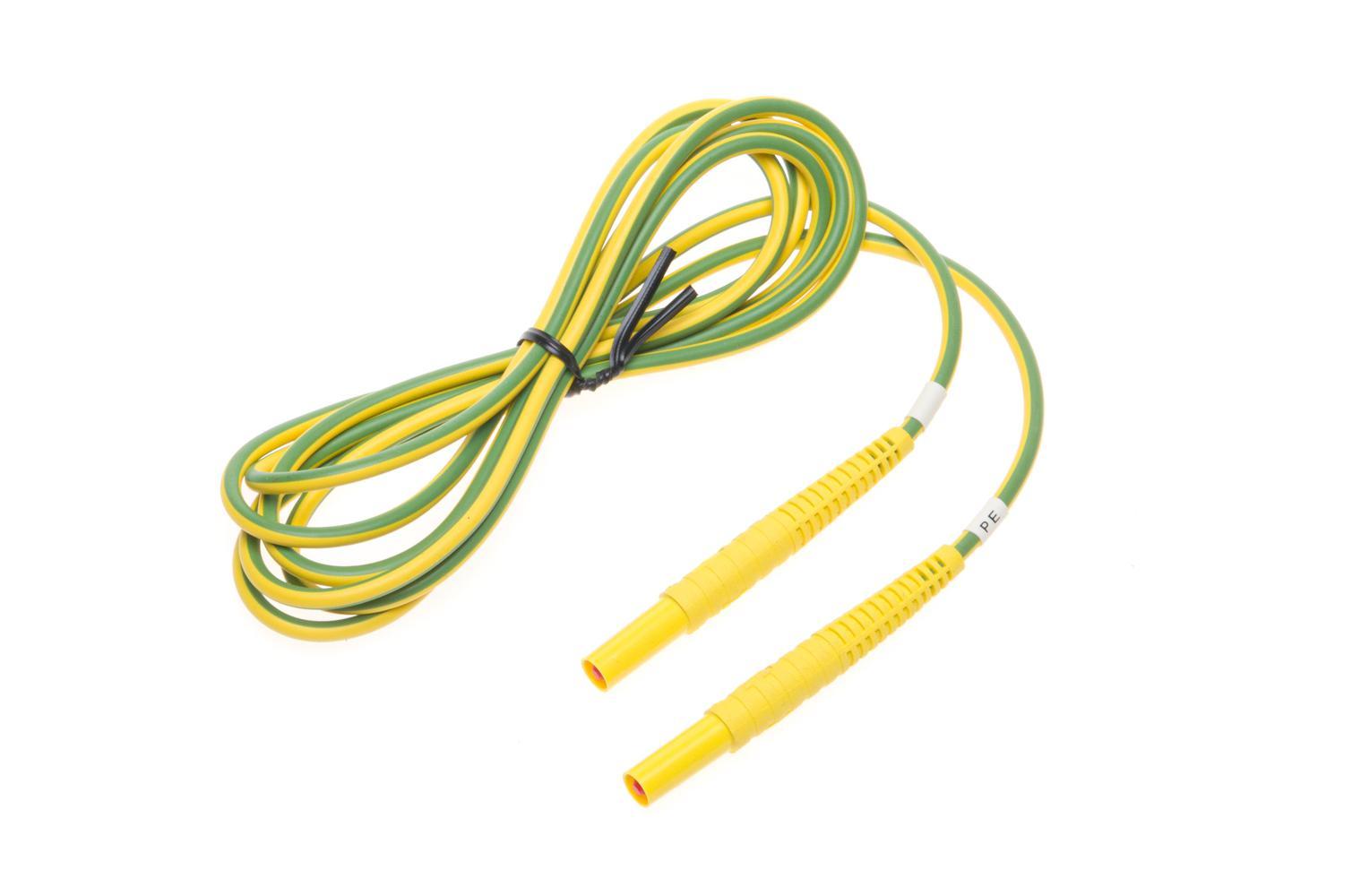 Przewód 2,2 m żółto-zielony 1 kV (wtyki bananowe)