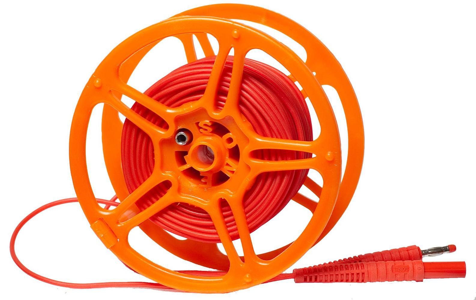 Przewód 20 m czerwony 1 kV na szpuli (wtyki bananowe)
