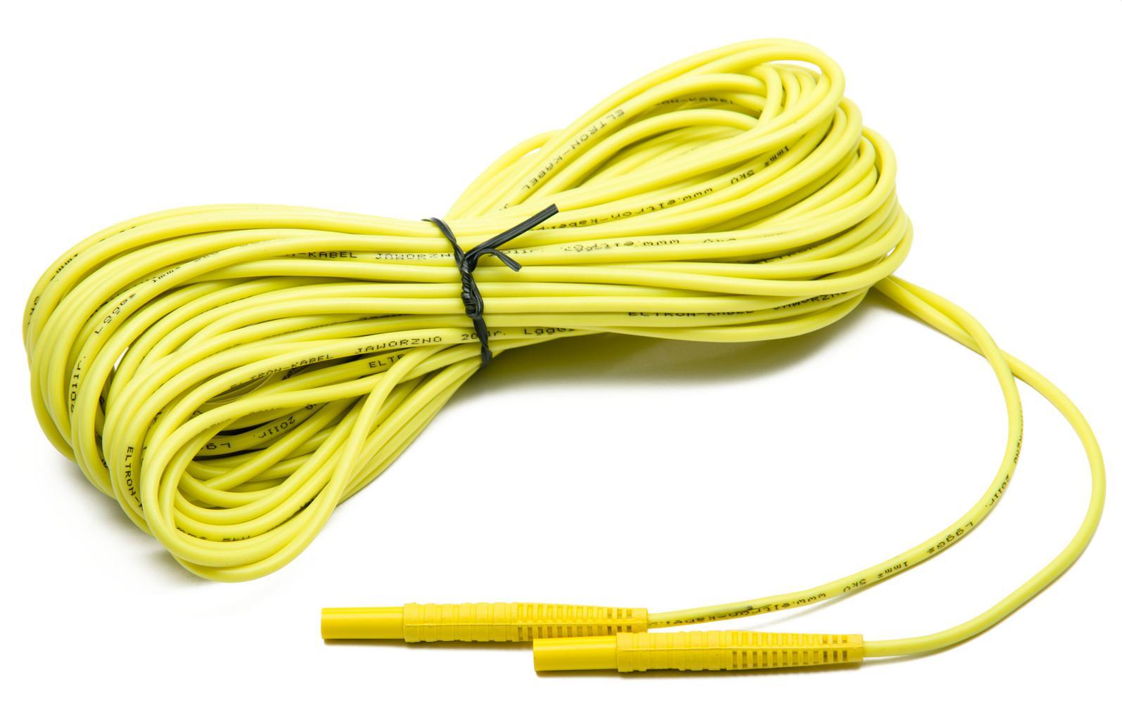 Przewód 20 m żółty 1 kV (wtyki bananowe)
